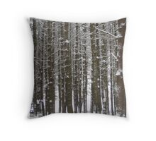 Tall Trees with Greeting Throw Pillow