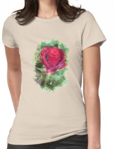Rose Watercolor Womens Fitted T-Shirt