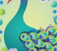 Peacock with White Border – Naïve Style Bird Series Sticker