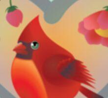 Red Robin Bird with White Border – Naïve Style Bird Series Sticker
