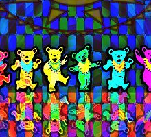 Grateful Dead Dancing Bears #2 Psychedelic Tapestry Design by capartwork