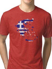 Greece map flag Tri-blend T-Shirt