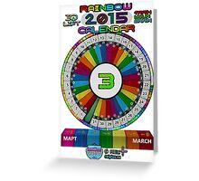 MARCH - 2015 Rainbow Calendar - Sticker Greeting Card