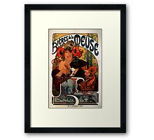 'Bieres de la Meuse' by Alphonse Mucha (Reproduction) Framed Print