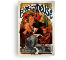 'Bieres de la Meuse' by Alphonse Mucha (Reproduction) Canvas Print