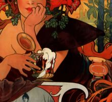 'Bieres de la Meuse' by Alphonse Mucha (Reproduction) Sticker