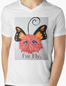 Red Fur Fly© with butterfly wings  Mens V-Neck T-Shirt