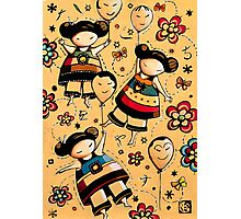 Three Asian Dolls with Balloons Photographic Print
