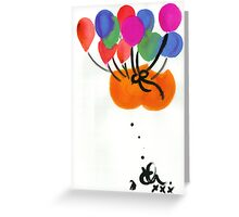 Floating bum instilation (suspended by helium balloons) circa 2002. Greeting Card