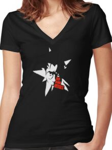 No More Heroes - Star (Red Text) Women's Fitted V-Neck T-Shirt