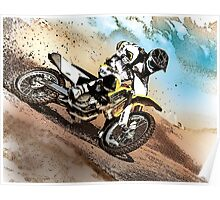 Graphically altered dirt biker  Poster