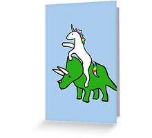 Unicorn Riding Triceratops Greeting Card