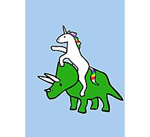 Unicorn Riding Triceratops Photographic Print