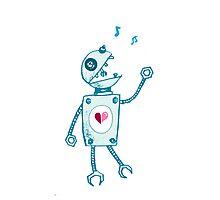 Happy Singing Robot Photographic Print