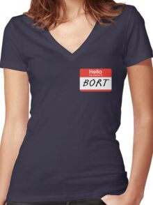 """The Simpsons """"Hello My Name Is Bort"""" Shirt Women's Fitted V-Neck T-Shirt"""