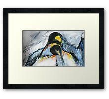 Penguins acrylics on paper  Framed Print