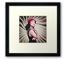 Beautiful model in vintage fashion accessories  Framed Print