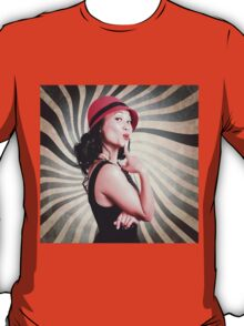 Beautiful model in vintage fashion accessories  T-Shirt
