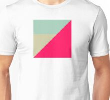 Modern Color Black - Hot Pink Neo Grey Sky Light Blue Geometric Abstract Clean Lines Bright Pastel Ash Unisex T-Shirt
