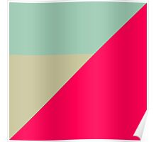 Modern Color Black - Hot Pink Neo Grey Sky Light Blue Geometric Abstract Clean Lines Bright Pastel Ash Poster