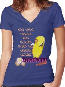 Omeletteville Women's Fitted V-Neck T-Shirt