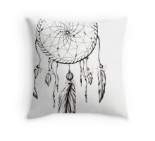 Dream Catcher-Feathers and Beads Throw Pillow