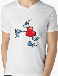 Skating Heart Mens V-Neck T-Shirt