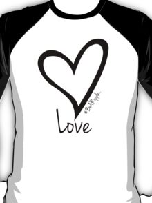 LOVE....#BeARipple Black Heart on White T-Shirt