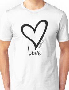 LOVE....#BeARipple Black Heart on White Unisex T-Shirt
