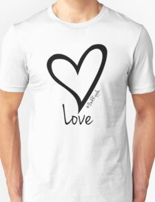 LOVE....#BeARipple Black Heart on White T-Shirt