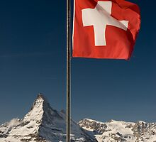 Matterhorn and swiss flag by peterwey