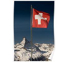 Matterhorn and swiss flag Poster