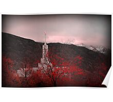 Mount Timpanogos Temple - Red Poster