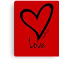 LOVE....#BeARipple Black Heart on Red Canvas Print