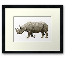 Isolated muddy rhinoceros on white Framed Print