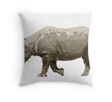 Isolated muddy rhinoceros on white Throw Pillow