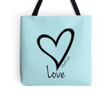LOVE....#BeARipple Black Heart on Blue Tote Bag