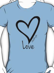 LOVE....#BeARipple Black Heart on Blue T-Shirt