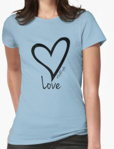 LOVE....#BeARipple Black Heart on Blue T-Shirt