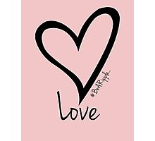 LOVE....#BeARipple Black Heart on Pink Photographic Print