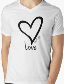 LOVE....#BeARipple Black Heart on Pink Mens V-Neck T-Shirt