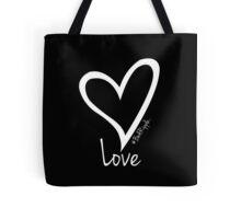 LOVE....#BeARipple White Heart on Black Tote Bag