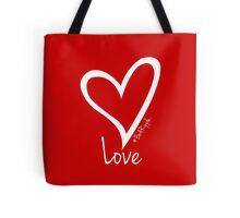 LOVE....#BeARipple White Heart on Red Tote Bag