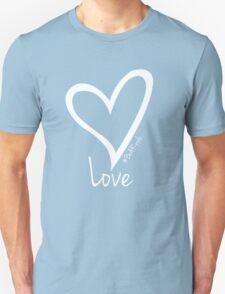 LOVE....#BeARipple White Heart on Lavender Unisex T-Shirt