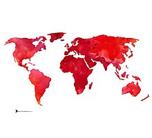 Red world map silhouette art print watercolor painting Photographic Print