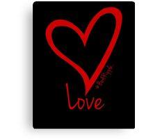LOVE....#BeARipple Red Heart on Black Canvas Print