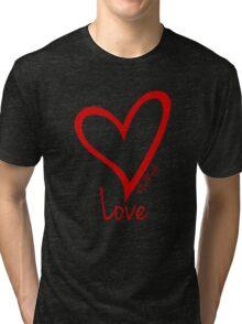 LOVE....#BeARipple Red Heart on Black Tri-blend T-Shirt