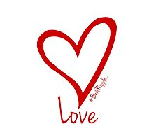LOVE....#BeARipple Red Heart on White by BeARipple