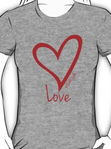 LOVE....#BeARipple Red Heart on Lavender T-Shirt