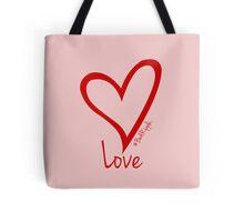 LOVE....#BeARipple Red Heart on Pink Tote Bag